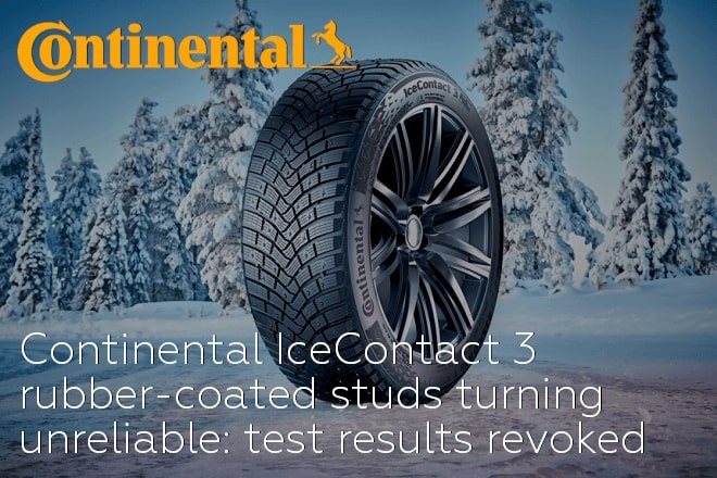 Continental IceContact 3 rubber-coated studs turning unreliable: test results revoked
