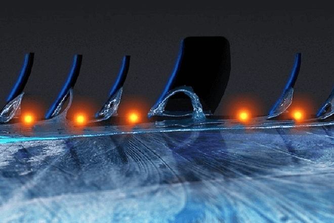Short braking distances on icy surfaces