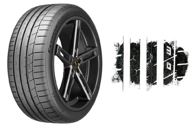 An example of the Continental ExtremeContact Sport contact patch in size 245/40 R18