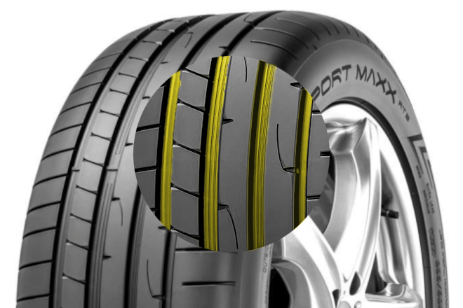 The wide water evacuation grooves of the Sport Maxx RT2