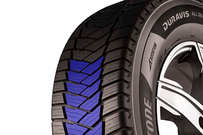 V-shaped tread pattern