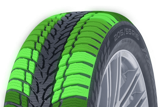 The tire shoulder areas