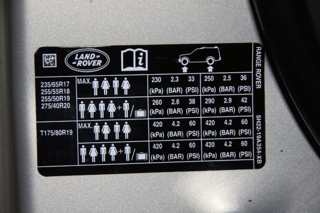 Photo: the Land Rover Range Rover information sticker