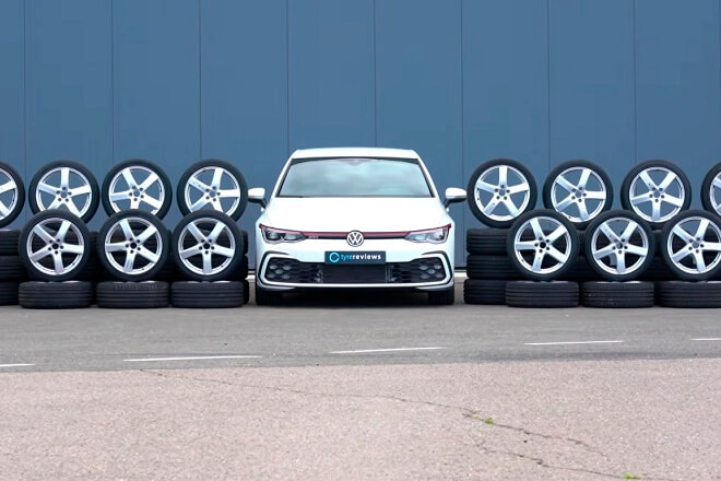 The tires were tested using VW Golf GTI.Source: tyrereviews.com