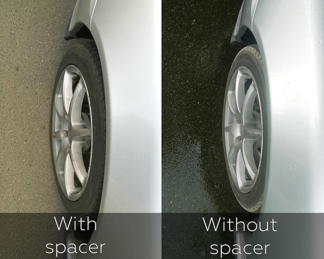 An example of changing the wheel offset before and after the installation of a spacer
