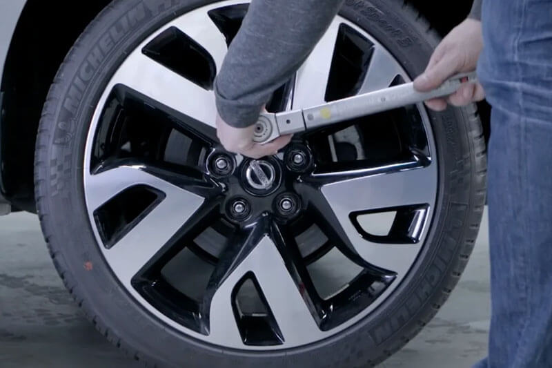 Reinstall the wheel, again, by using the torque wrench with the recommended torque spec.
