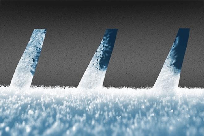 Short braking distances on snowy surfaces